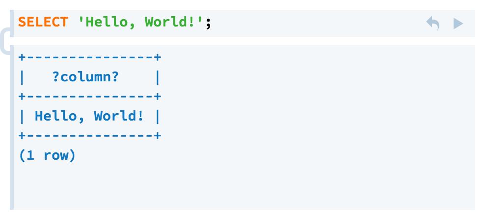 Hello World in PostgreSQL